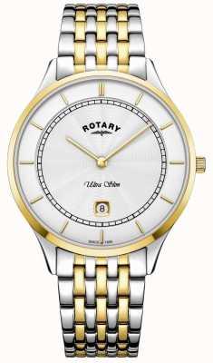 Rotary 男士超薄白色表盘金表壳不锈钢手表 GB08301/02