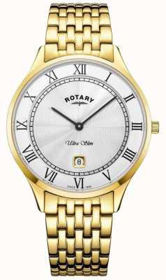 Rotary 男士超薄白色表盘金色不锈钢腕表 GB08303/01