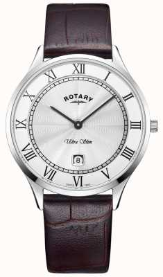 Rotary 男士超薄棕色真皮表带手表 GS08300/01