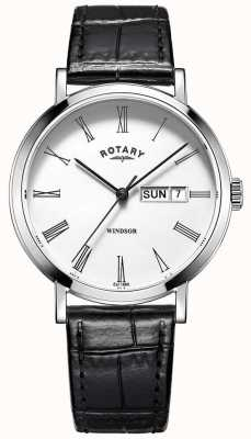 Rotary 男士超薄黑色皮革表带手表 GS05300/01