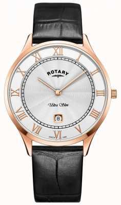 Rotary 男士超薄黑色真皮表带手表 GS08304/01