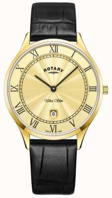 Rotary 男士超薄黑色真皮表带手表 GS08303/03