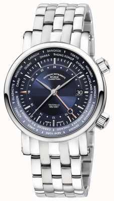 Muhle Glashutte Teutonia II Weltzelt GMT不锈钢表链蓝色表盘 M1-33-82-MB