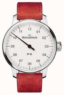 MeisterSinger 1号40毫米和伤口sellita绒面革红色表带 DM301