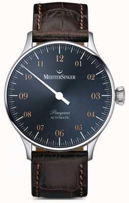 MeisterSinger 盘古自动钢蓝色表盘黑褐色鳄鱼纹 PM917G