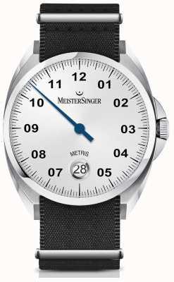 MeisterSinger Metris自动乳白色银色表盘尼龙黑色表带 ME901
