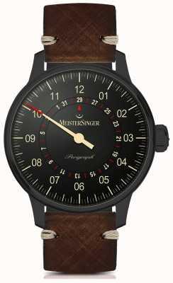 MeisterSinger Perigraph自动黑色线条深棕色皮革表带 AM1002BL