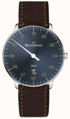 MeisterSinger 新加自动钢蓝色cordovan黑色congac表带 NE417G