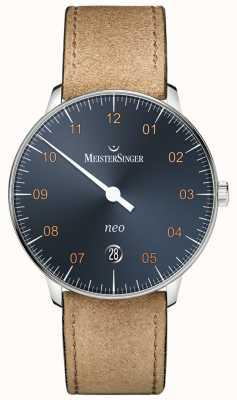 MeisterSinger Neo自动钢蓝色表盘绒面革干邑表带 NE917G