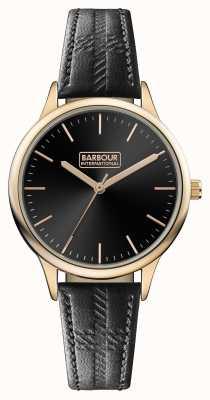 Barbour 男士标志黑色皮革表带黑色表盘 BB058RSBK