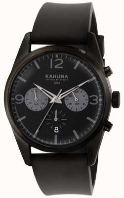 Kahuna 男士黑色计时码表盘黑色橡胶表带 KCS-0010G