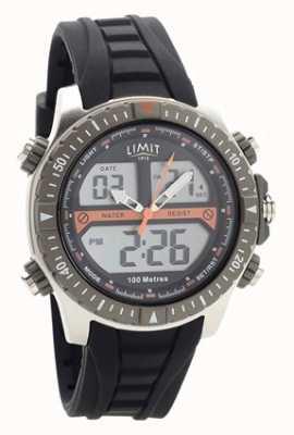 Limit 男士黑色橡胶表带数字/模拟手表 5694.71