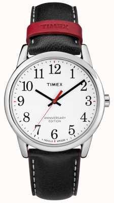 Timex 男士简约阅读器40周年纪念黑色红色皮质表带 TW2R40000