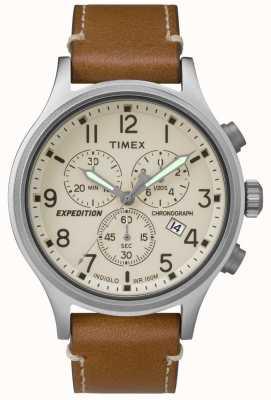 Timex 男士远征计时表棕褐色真皮表带奶油表盘 TW4B09200