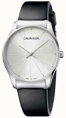 Calvin Klein 女士黑色皮革银色表盘手表 K4D211C6