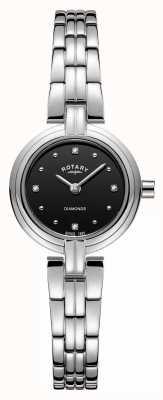 Rotary 女士钻石黑色表盘不锈钢表链 LB00410/15