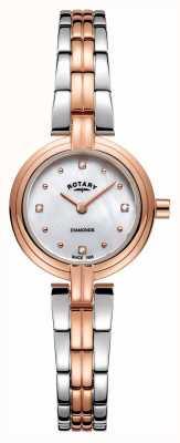 Rotary 女式钻石两色玫瑰金不锈钢 LB00412/41