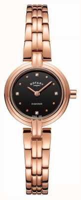 Rotary 女式钻石黑色表盘镀玫瑰金不锈钢 LB00414/15