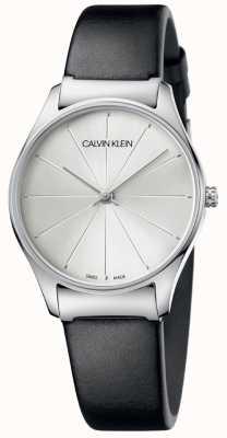 Calvin Klein 经典黑色真皮表带银色表盘 K4D221C6