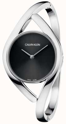 Calvin Klein 派对银色不锈钢表链黑色表盘 K8U2S111