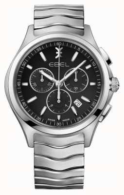 EBEL 男士计时码表黑色表盘不锈钢银色表壳 1216342
