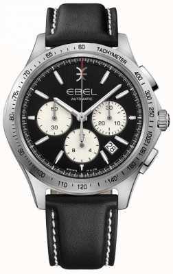 EBEL 男士自动波浪计时码表黑色表盘黑色皮革 1216404