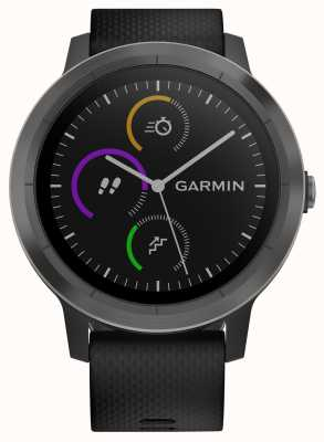 Garmin Vivoactive 3小时多运动跟踪器黑色橡胶黑色表圈 010-01769-10