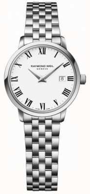 Raymond Weil 女士toccata不锈钢表链白色表盘 5988-ST-00300