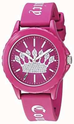 Juicy Couture 女式粉色硅胶表带手表粉色皇冠表盘 JC-1001HPHP
