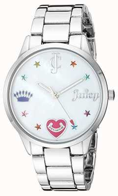 Juicy Couture 女式银色钢手链表带彩色标记 JC-1017MPSV