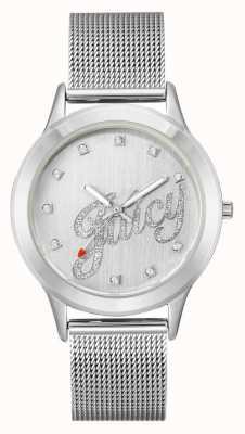 Juicy Couture 女装银色网眼手链多汁脚本手表 JC-1033SVSV