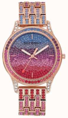 Juicy Couture 这款女士闪亮手表采用玫瑰金色钢质手链设计 JC-1044MTRG