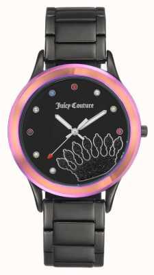 Juicy Couture 女式黑色手镯黑色表盘,彩色表圈 JC-1053MTBK