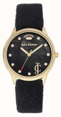 Juicy Couture 女式黑色表盘|黑色天鹅绒表带|金色表壳 JC-1060BKBK