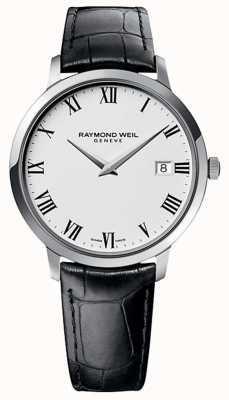 Raymond Weil 男士toccata黑色皮革表带白色表盘 5588-STC-00300