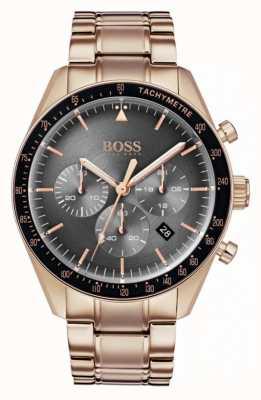 Hugo Boss 男士奖杯手表灰色计时码表表盘玫瑰金色调 1513632