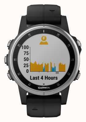 Garmin Fenix 5s plus银色表圈黑色橡胶表带 010-01987-21