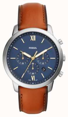 Fossil 男士neutra蓝色计时码表表盘棕色皮表带 FS5453
