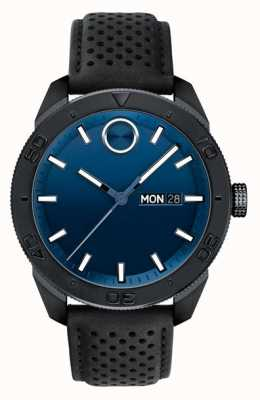 Movado 男士醒目蓝色表盘黑色多孔皮革表带 3600495