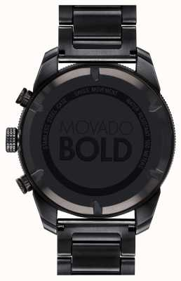 Movado 男士大胆黑色镀金运动计时码表 3600514