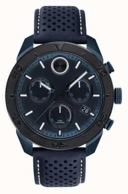 Movado 男装大胆的chronoraph蓝色穿孔皮革表带 3600516