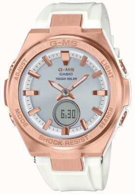Casio G-ms baby-g玫瑰金坚韧太阳能白色表带 MSG-S200G-7AER