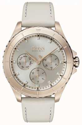 Hugo Boss 女装首映镀金表壳米色真皮表带 1502447