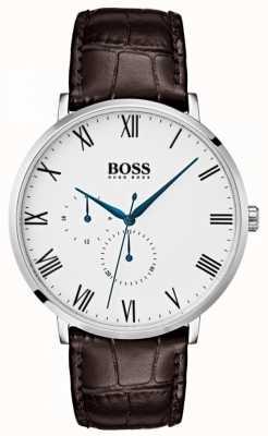 Hugo Boss 男士威廉经典棕色真皮白色表盘 1513617