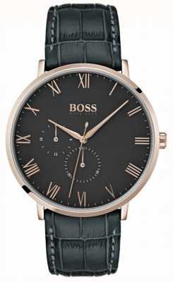 Hugo Boss 威廉经典深灰色皮革和表盘镀金表壳 1513619