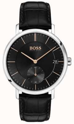 Hugo Boss 下士男士黑色皮表带黑色表盘 1513638