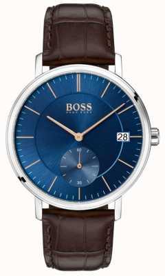 Hugo Boss 男士棕色皮革表带蓝色表盘 1513639