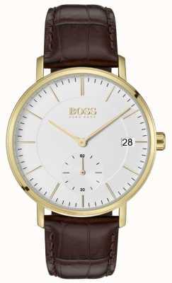 Hugo Boss 男士棕色皮革白色表盘镀金 1513640