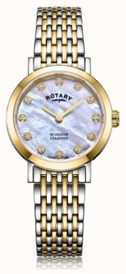 Rotary 女式温莎钻石日期双色手镯表 LB05301/41/D