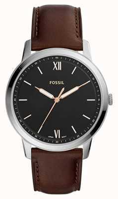 Fossil 男士极简主义腕表黑色表盘棕色皮表带 FS5464
